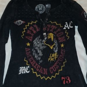 Affliction henley thermal long sleeve